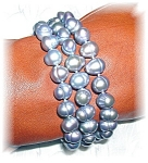 Click here to enlarge image and see more about item 1206200596: Baroque Grey Pearl Sterling Silver Bracelet