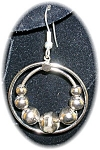 Click to view larger image of Silver Dangle Earrings Moving Ball Loops (Image1)