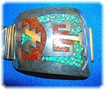 Native American Sterling Silver Turquoise Coral Band