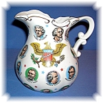Click to view larger image of Ceramic Presidents Pitcher Washington to Johnson 65 (Image1)