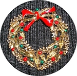Click to view larger image of VINTAGE CHRISTMAS WREATH PIN BY GERRY'S.... (Image1)