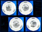 Click here to enlarge image and see more about item 1210201202: WEDGWOOD  FEDERAL CITY PLATES, Set of 4, Black Transfer
