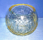 Click here to enlarge image and see more about item 1211200705: Crystal Rose Bowl Yellow Tint Glass