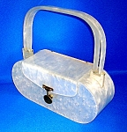 Lucite White Pearlised Evening Box Bag
