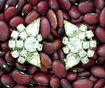 Crystal Silvertone Vintage  Clip Earrings