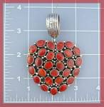 Click to view larger image of Sterling Silver Red Spiny Oyster  Heart Pendant TED JOE (Image2)