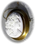 Click here to enlarge image and see more about item 1217200210: Large Victorian Pink Angel Skin Cameo Pin