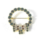 Christmas Wreath Crystal Brooch Pin