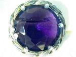 Silver Tone Leaves Amethyst Glass Brooch Pin 60s