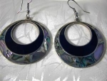 Click to view larger image of Black Onyx & Abalone Dangly Hoop Pierced Earrings (Image1)