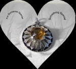 Silvertone Pendant With Citrine Faceted Stone
