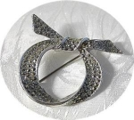 Click here to enlarge image and see more about item 121720029: Vintage English Marquisite Bow Brooch, Pin