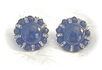 Black Faceted Crystal & Rhinestone Clip Earrings
