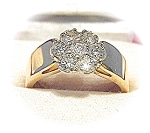 Ring 14K Yellow Gold & Diamond Cluster