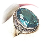 Sterling Silver Signed Blue Green Stone Ring . . . . .