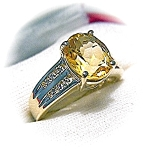 Ring 14K Yellow Gold Diamond 3ct Citrine