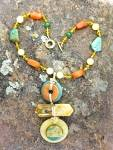 Click to view larger image of Necklace Citrine Adventurine Crystal gold Wrap Hand Mad (Image7)