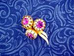 Click to view larger image of Brooch KRAMER Gold Tone Fuchia White Crystal Flowers (Image7)