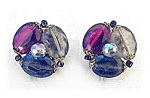 Clip Earrings Vintage West German Lucite & Glass