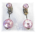 Pale Pink Plastic Lucite 'Bubbles' Clip Earrings