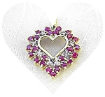 Click to view larger image of 10K Gold Ruby and  Diamond Heart Pendant (Image1)