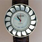 Click here to enlarge image and see more about item 12272011: Wristwatch SURRISI Sterling Silver Mother of Pearl