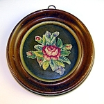 VINTAGE MINITURE NEEDLEPOINT IN FRAME.