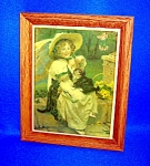 TILE  Oak Framed Child $ Kittens Signed Bessie Pease