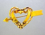 Click here to enlarge image and see more about item 1229200746: Gold Heart and Arrow Brooch Pin 12K GF Linc