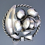 Sterling Silver Hand made Leaves and Beries Brooch