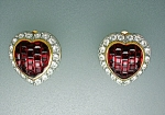 Click here to enlarge image and see more about item 1229200763: Swarovski Crystal Red Heart Clip Earrings