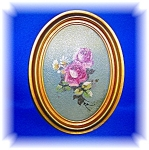 Click here to enlarge image and see more about item 1230200605: VINTAGE ROSE PRINT IN FRAME.....