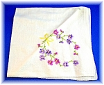 Click here to enlarge image and see more about item 1230200615: EMBROIDERED HANKIE - forget-me-nots . . . .