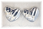 Earrings Sterling Silver Taxco Mexico  Heart Clips