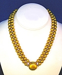 2 Row Brushed Gold Bead  Necklace Signed LCI