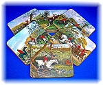 set of 6 SHERATON ENGLISH FOX HUNT COASTERS .  . . .
