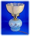 Click here to enlarge image and see more about item 1231200626: VINTAGE PRESSED GLASS LAMP . . . .