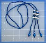 Click here to enlarge image and see more about item 123201158: Necklace Blue White Crystals with Teardrop Tassle .....