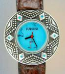 Click here to enlarge image and see more about item 123201496: Wristwatch Surrisi Sterling Silver Turquoise Leather Ba
