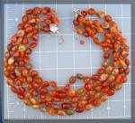 Click to view larger image of Carnelian GUNDI  5 Strands Sterling Silver By Necklace (Image1)