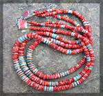 Click to view larger image of Necklace 3 Strand Turquoise Red Spiny Oyster Sterling S (Image1)