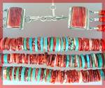 Click to view larger image of Necklace 3 Strand Turquoise Red Spiny Oyster Sterling S (Image2)