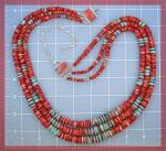 Click to view larger image of Necklace 3 Strand Turquoise Red Spiny Oyster Sterling S (Image3)