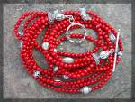 Necklace Red  Coral 6 Strand  Sterling Silver Toggle Cl