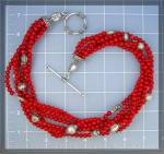 Click to view larger image of Necklace Red  Coral 6 Strand  Sterling Silver Toggle Cl (Image5)
