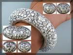 Click to view larger image of Bracelet Silver Flowers Leaves Bangle Handmade NEPAL (Image2)