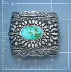 Click here to enlarge image and see more about item 1252018614: Navajo Pilot Mountain Turquoise Sterling Silver Bracele