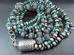 Click to view larger image of Native American Sterling Silver Turquoise Necklace (Image1)
