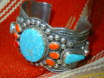 Click to view larger image of Andy Cadman Bracelet Strling Silver Turquoise Spiny Oys (Image1)