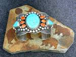Click to view larger image of Andy Cadman Bracelet Strling Silver Turquoise Spiny Oys (Image5)